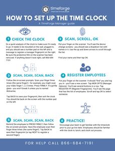 screenshot of biometric timeclock setup infographic